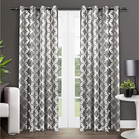 Exclusive Home Curtains Modo Metallic Geometric Window Curtain Panel Pair With Grommet Top 54x96 Black Pearl 2 Count Home Kitchen