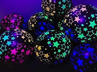 Blacklight Party Glow in The Dark Balloons - Neon Stars Glow in Blacklight - 25 Count (Black)