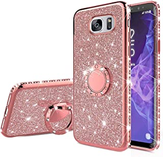 MoreChioce H/ülle kompatibel mit Samsung Galaxy S7 Marmor H/ülle Bling Glitzer Paillette Weich Silikon Handyh/ülle mit 360 Grad Ring St/änder Flexible Hybrid Schutzh/ülle Transparent Bumper Lila
