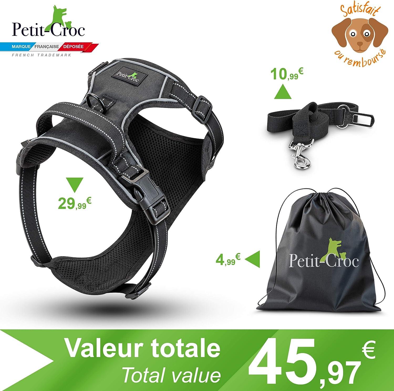 Dog Love f/ür die t/ägliche Ausbildung von Hunden Canicross Schwarz Hundegeschirr mit Leine langlebig Tasche und Sicherheitsgurt f/ür Auto Welpen Zugentlastung und reflektierend