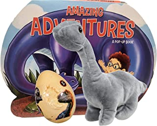 Dinosaur Easter Plush with Pre-filled Egg of Candy for Kids, Boy, Girl and Toddler; Treats include Egg filled Jurassic World Candy Dinosaurs and Fun Pop Up Book (3 items) ((Gray) Brachiosaurus)