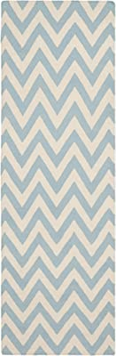 Contemporary Rug - Dhurries Wool Pile -Blue/Ivory Style-D Blue/Ivory/Contemporary/6'L x 4'W/Small Rectangle