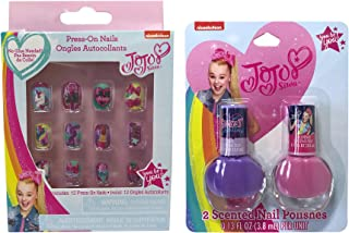Jojo Siwa Purple and Pink Scented Nail Polishes 2pcs and Press on Nails 12pcs Set for Kids Girls