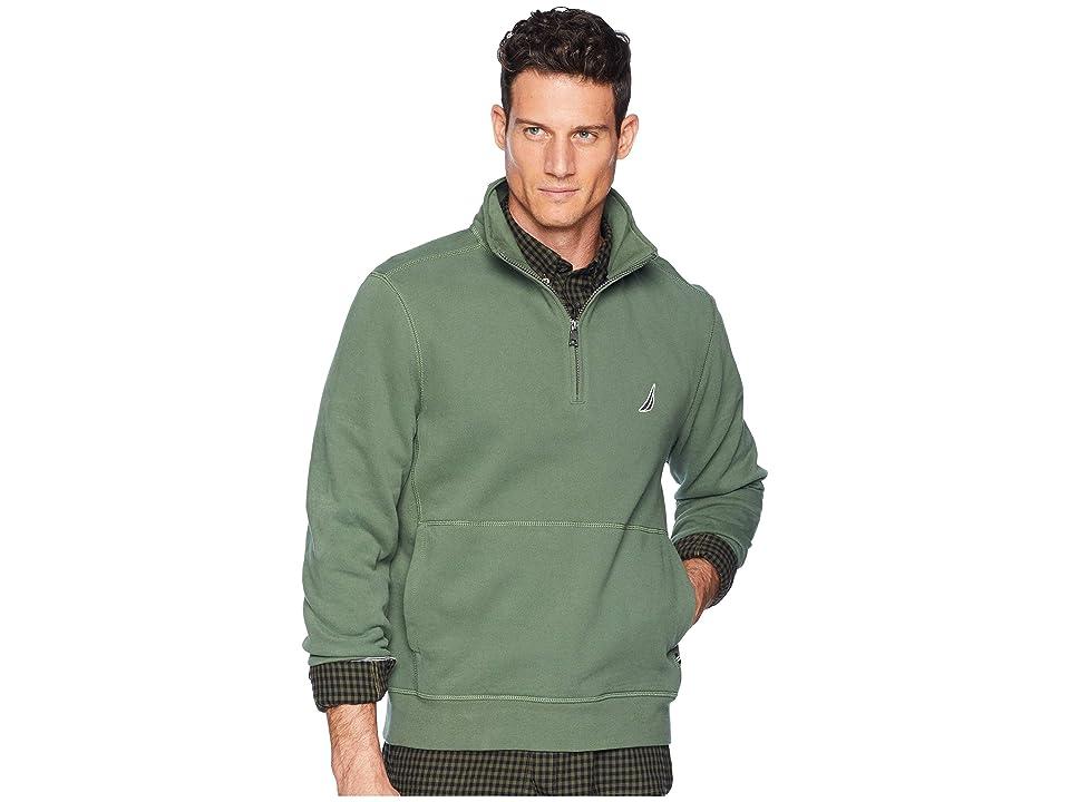 Nautica Fleece Basic 1/4 Zip Knit Active (Pine Forest) Men