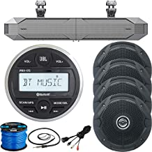 Marine Digital Media Bluetooth Receiver, 4 x 6.5 Dual Cone Stereo Speakers (Black, Bulk Packaging), Infinity Kappa Amplified Soundbar, Antenna, AUX Interface, Speaker Wire