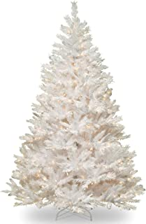 National Tree 7 Foot Winchester White Pine Tree with Silver Glitter and 450 Clear Lights, Hinged (WCHW7-300-70)