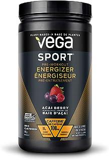 Vega Sport Pre-Workout Energizer Acai Berry (19oz, 30 Servings) - Vegan, Gluten Free, All Natural, Pre Workout Powder, Non...
