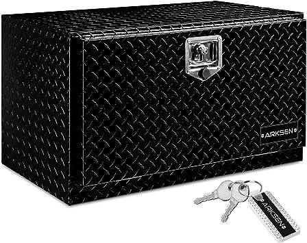 "ARKSEN 30"" Aluminum Truck Underbody Diamond Plate ToolBox w/T-Handle Latch Durable Pickup Trailer Storage Organizer Tool Box Key Lock, Black: image"