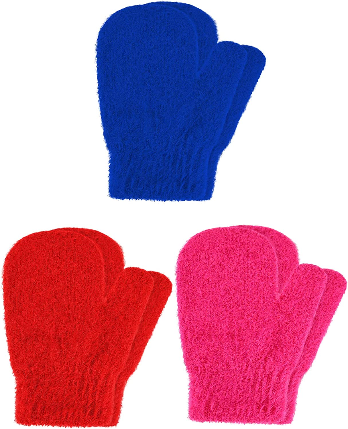 3 Pairs Toddler Stretchy Mittens Soft Knitted Mitten Winter Knitted Gloves for Boys Girls, 1-5 Years Old
