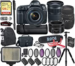 Canon EOS 5D Mark IV DSLR Camera with 24-105mm Lens, 50mm f/1.8 Lens & Sigma 70-300mm Lens + 128GB Sandisk Extreme Memory + Video LED Light + Rode Microphone + 60