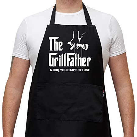 BBQ Apron Funny Grill Aprons for Men The Grillfather Men/'s Grilling Gifts Black