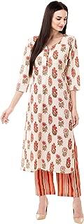 Gulmohar Jaipur Women's Cotton Printed Kurta Pant Set (Pink)