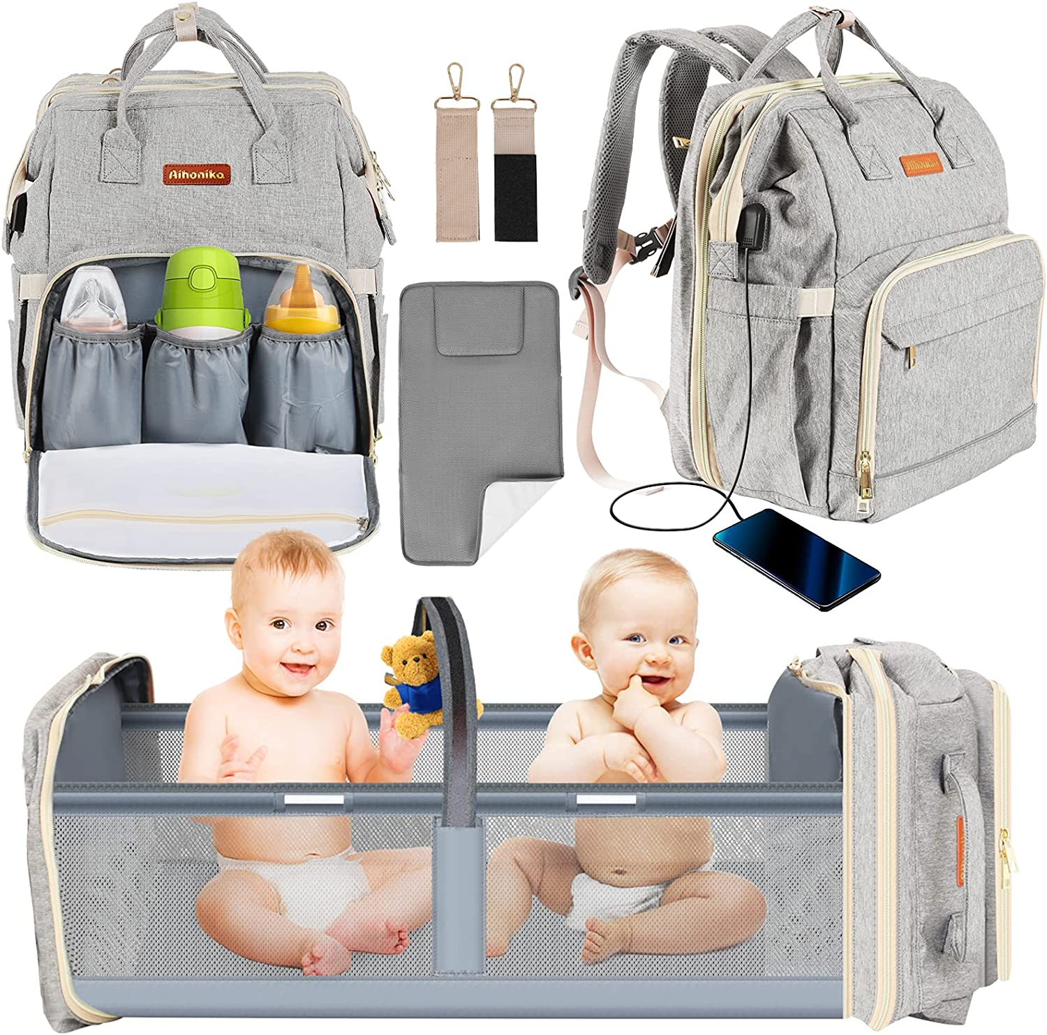 Baby Diaper Bag Backpack with Changing Station,Aihonika Foldable Travel Baby Girls Boys Bags Portable Large Capacity Nappy Bags Diaper Bag with Bassinet Mat,Waterproof Changing Pad,Shade Cloth