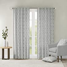 Grey Curtains For Living room, Modern Contemporary Fabric Window Curtains For Bedroom, Delray Diamond Print Rod Pocket Modern Window Curtains, 42X84, 1-Panel Pack