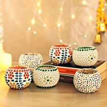 TIED RIBBONS Mosaic Glass Tealight Candle Holders for Diwali Home Decoration and Gifts (Pack of 6)