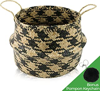 Natural Seagrass Belly Basket with Handles - Foldable Woven Storage Basket   Modern Home Decor Plant Pot Cover   Round Wicker Basket Planter   Great for 10
