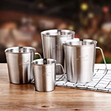 Stainless Steel 304 Measuring Cup with Scale (33.8oz/1Liter, 6 Cups) Large Capacity Kitchen Coffee Cappuccino Latte Art Te...
