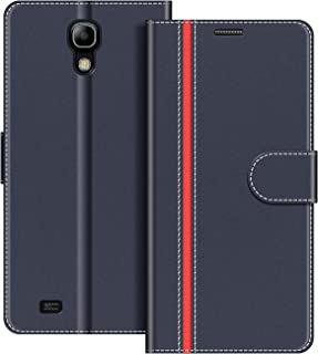 COODIO Funda Samsung Galaxy S4 Mini con Tapa, Funda Movil Samsung S4 Mini, Funda Libro Galaxy S4 Mini Carcasa Magnético Funda para Samsung Galaxy S4 Mini, Azul Oscuro/Rojo