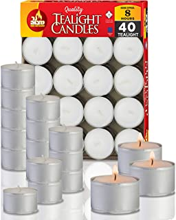 Ner Mitzvah Long Burning Tealight Candles - 8 Hours - White - Unscented - 40 Pack - Made in EU