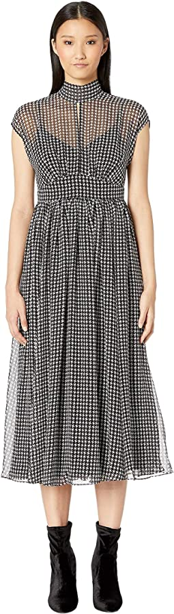 Dashing Beauty Houndstooth Chiffon Dress