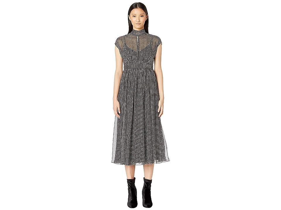Kate Spade New York Dashing Beauty Houndstooth Chiffon Dress (Black/Cream) Women