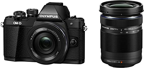 Olympus OM-D E-M10 Mark III Mirrorless Micro Four Thirds DSLR Camera with 14-42 EZ and 40-150 Twin Lens Kit (Black) (Black)