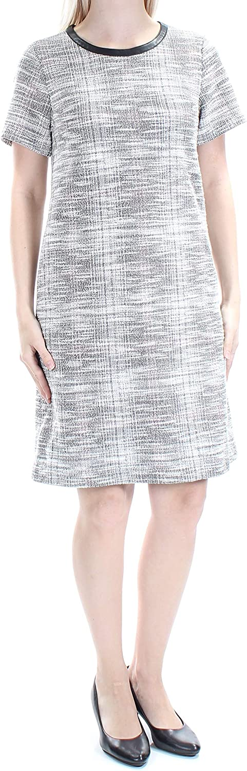 Tommy Hilfiger Womens London Tweed Faux Trim Casual Dress White 6