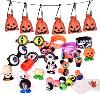 FUN LITTLE TOYS 72 PCs Halloween Party Supplies Toy Assortment Goodie Bags for Kids Trick-or-Treat Bags, Prefect Halloween Party Decorations