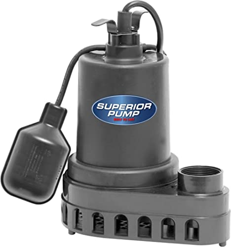 Superior Pump 92570 Thermoplastic Submersible Sump Pump with Tethered Float Switch, 1/2 HP, Black