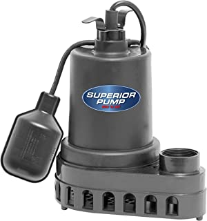 Superior Pump 92570 1/2 HP Thermoplastic Submersible Sump Pump with Tethered Float Switch