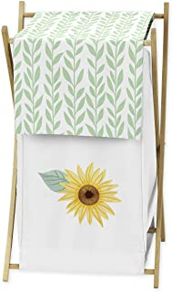 Sweet Jojo Designs Yellow, Green and White Sunflower Boho Floral Baby Kid Clothes Laundry Hamper - Farmhouse Watercolor Fl...