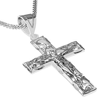 14K White Gold Jesus Crucifix Cross Pendant with 1.3mm Flat Open Wheat Chain Chain Necklace