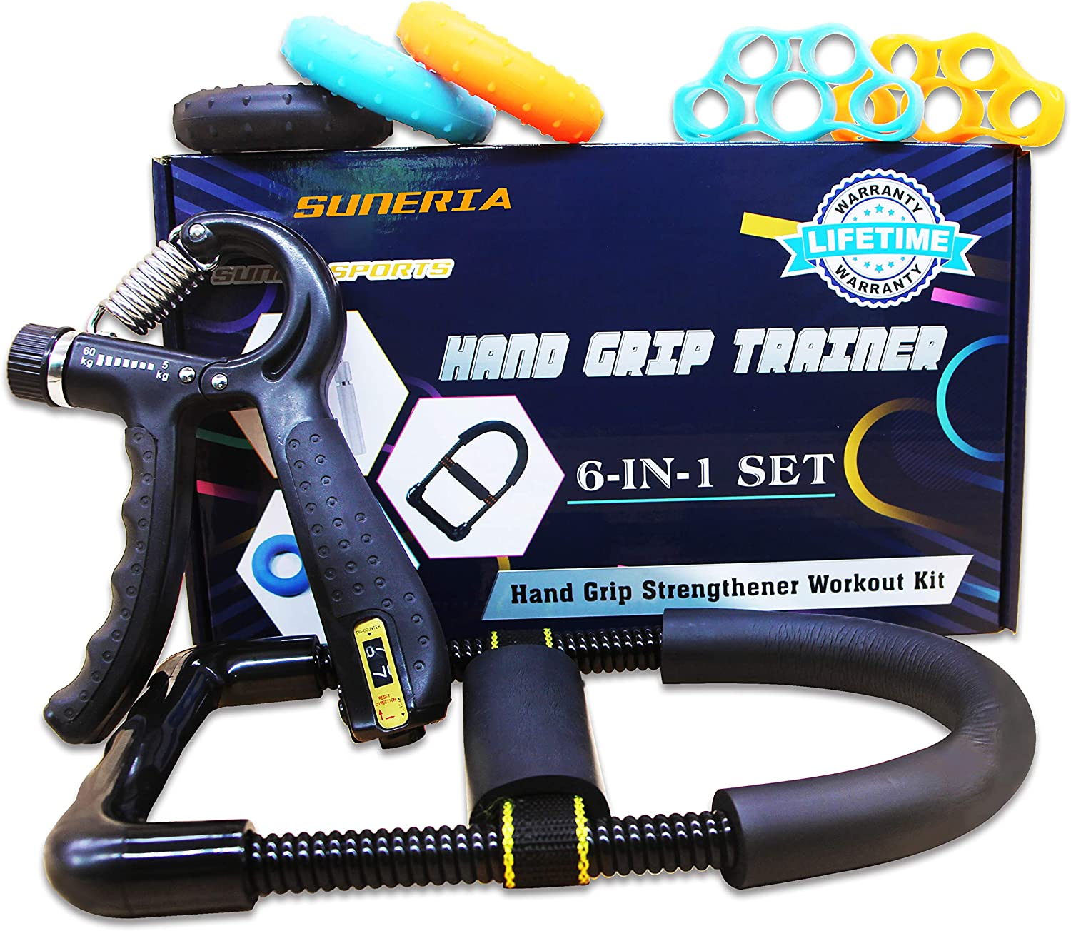 Complete Free Shipping SUNERIA Hand Grip Strengthener 7 Adjustable Pack Forearm Be super welcome