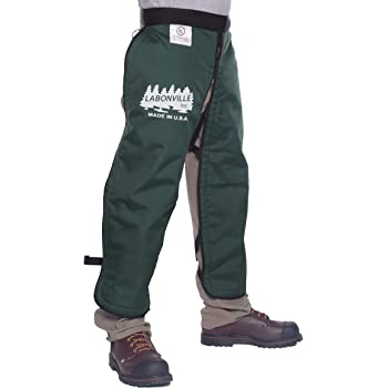 "LABONVILLE Premium Chainsaw Chaps - Overall Length 32"" - Made in USA - Green"