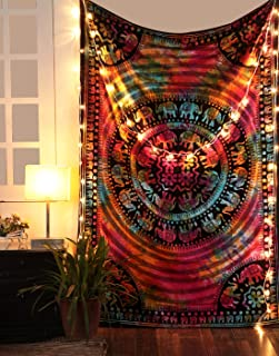 RAJRANG BRINGING RAJASTHAN TO YOU Tie Dye Hippie Mandala Tapestry - Twin Bohemian Elephant Tapestries Indian Psychedelic Dorm Decor Ethnic Decorative Wall Hanging - Multicolor - 84