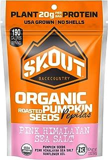 SKOUT Organic Roasted Pumpkin Seeds - Pink Himalayan Sea Salt - Pepitas With No Shell - Vegan, Low Carb Snacks - Paleo Foods - Gluten Free - Non-GMO - Kosher - Grown in USA - 2.2 oz (6 Count)