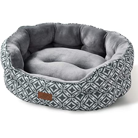 Bedsure Cat Bed Small Dog Bed - Round Cat Beds for Indoor Cats or Small Dogs, Round Machine Washable Super Soft Plush Flannel Pet Supplies, Slip-Resistant Oxford Bottom, Coin Print Grey