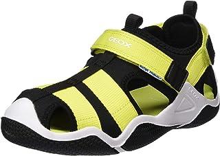 GEOX Boys' Jr Wader A Closed Toe Sandals, Black (Black/Lime C0802)