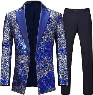 Men's Tuxedo Suits 2 Pieces Peak Lapel Double Breasted Golden Luxury Suit Jacket Pants