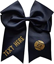 Softball Hair Bow Customized with Your Team or School Colors in Glitter Font - 7.5 Inches Long!