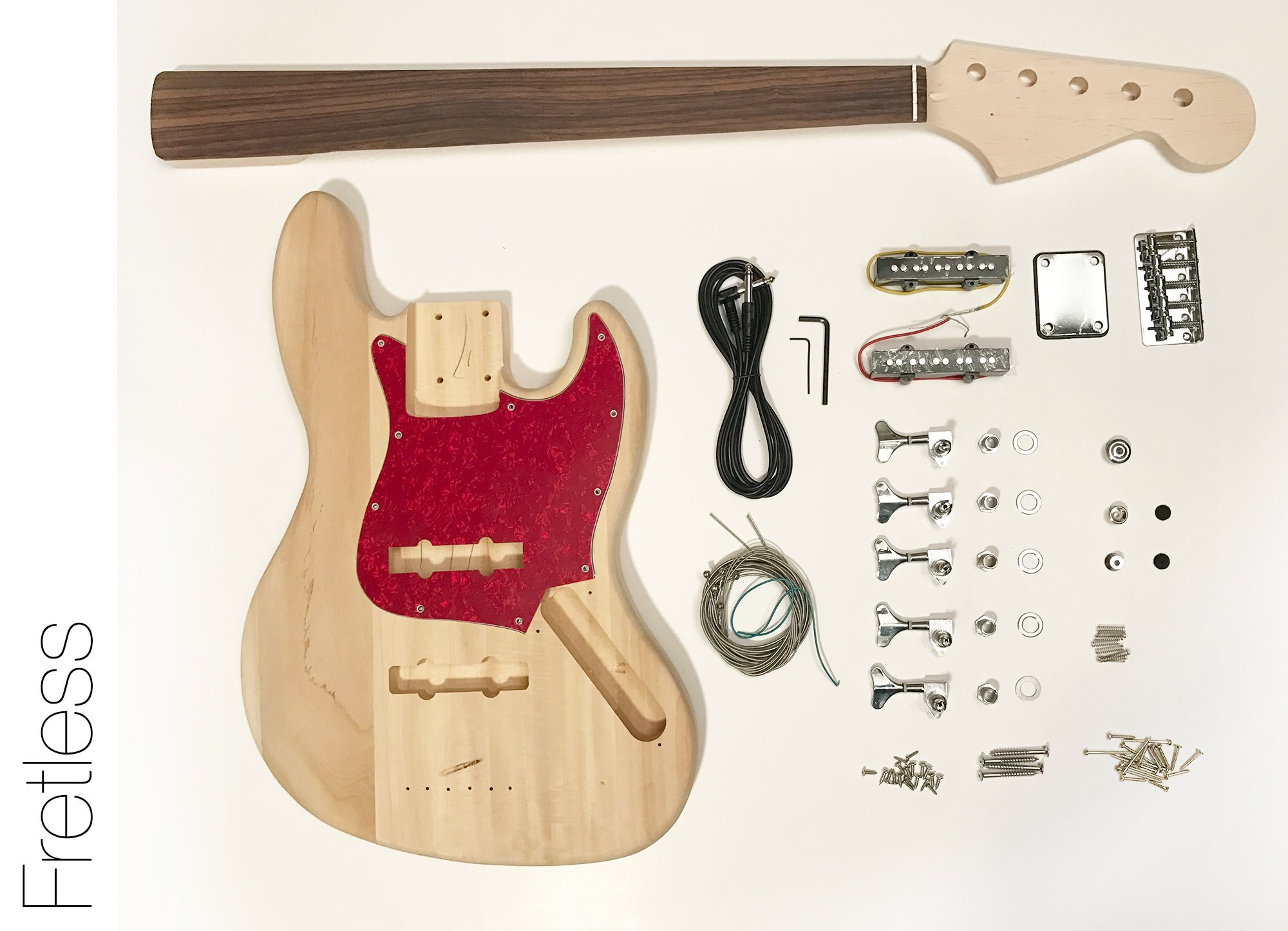 Cheap DIY Electric Bass Guitar Kit - Fretless 5 String J Bass Build Your Own Black Friday & Cyber Monday 2019