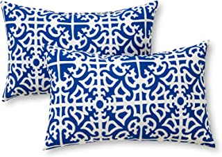 Greendale Home Fashions Rectangle Indoor/Outdoor Accent Pillows, Indigo, Set of 2 靛蓝色