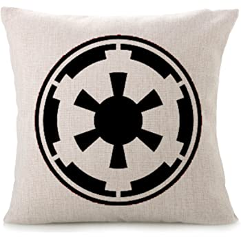 Bayyon Decorative Throw Pillow Covers Cotton Linen Cushion Star Wars Fans Covers 18 x 18 inch (Galactic Empire Black)