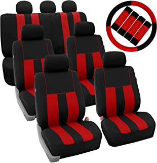 FH Group FH-FB036217 + FH2033 Three Row Combo Set: Striking Striped Seat Covers Red/Black Color- Fit Most Car, Truck, SUV, or Van