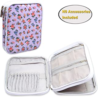 Teamoy Crochet Hook Case, Travel Storage Bag for Various Crochet Needles and Accessories, Lightweight and All in One Place, Easy to Carry, Purple Flowers(No Accessories Included)