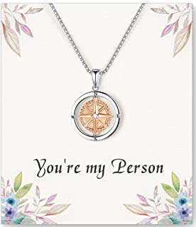 ASELFAD Friendship Compass Necklace for Women, Best Friend Friendship Gifts for Women, Graduation Gifts for Her, Birthday ...