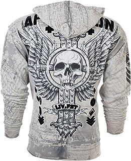 Affliction Hoodie Zip Up Sweatshirt Mens Vive RAPIDO Silver Grey