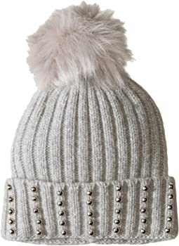 Silver Stud Beanie with Faux Fur