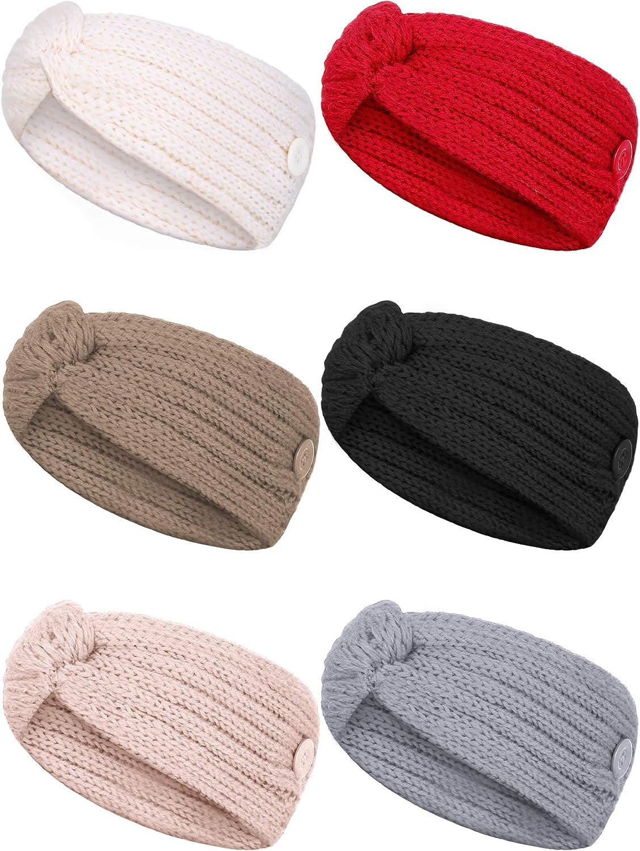 6 Pieces Button Headbands Crochet Turban Headbands Winter Cable Knit Ear Warmer Elastic Braided Head Wrap for Women Girls