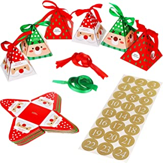 Christmas Advent DIY Calendar Kits Make Your Own DIY Advent Calendar with Santa Claus Candy Boxes Number Stickers 1 to 24 for Festival Holiday New Year Supplies